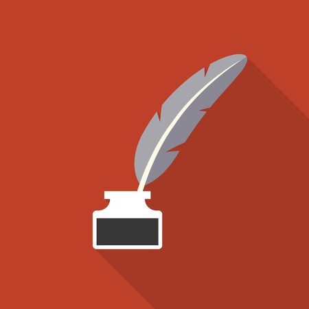 inkwell: Feather pen in inkwell icon vector, flat design