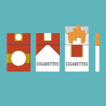 set of vintage cigarettes and open cigarette pack illustration, flat design