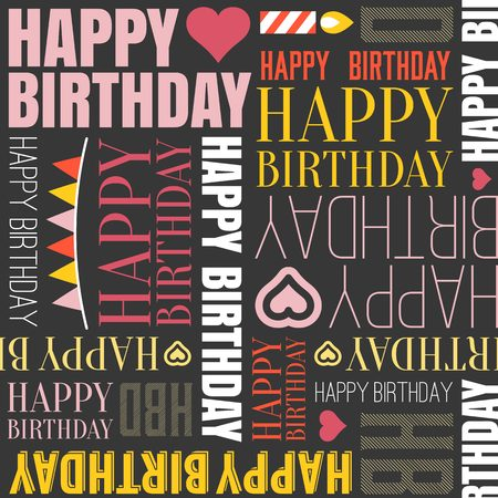 headline: Vector happy birthday alphabet headline, seamless pattern Illustration