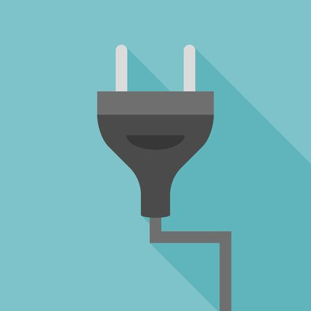 plug adapter: Vector plug icon, flat design with long shadow