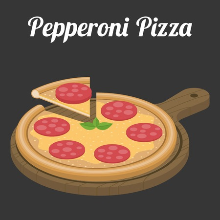 pepperoni pizza: Vector Pepperoni Pizza,flat design