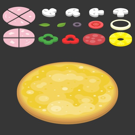 topping: Vector Pizza and topping,flat design