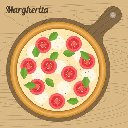 margherita: Vector margherita  pizza, flat design