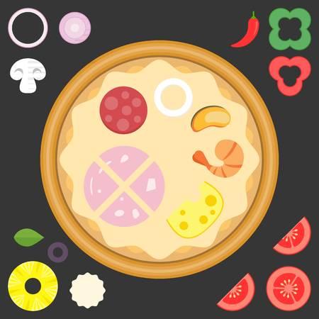 ingredient: Vector ingredient for design your own pizza,flat design