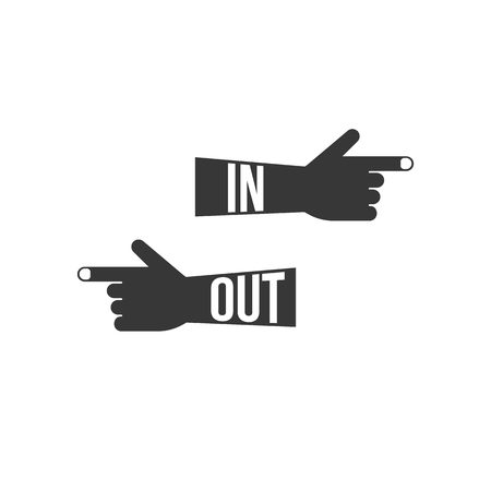 finger point: finger point sign post, in and out, silhouette design vector Illustration