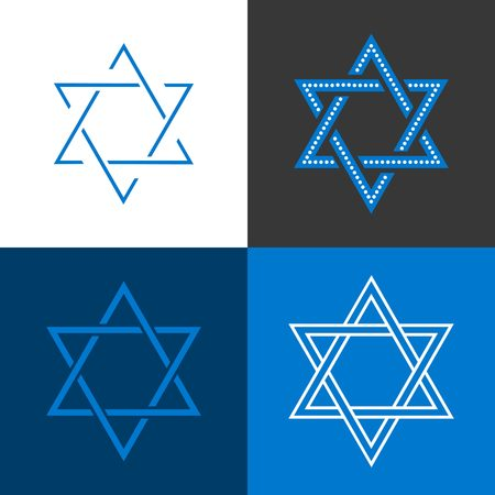 jews: Star of David, Star of Israel sign and symbol, flat design vector Illustration