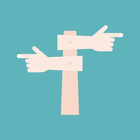 finger point: finger point sign post, flat design vector