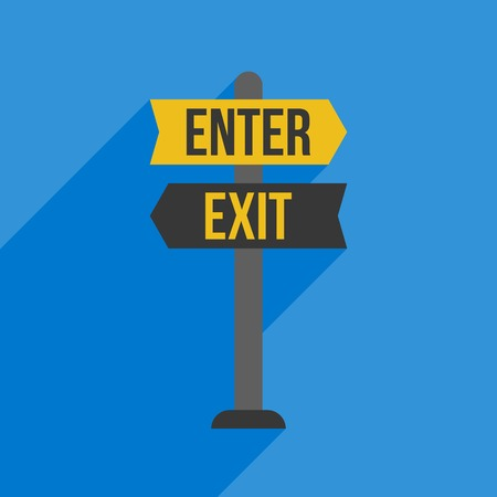 sign post: Enter and Exit sign post, flat design