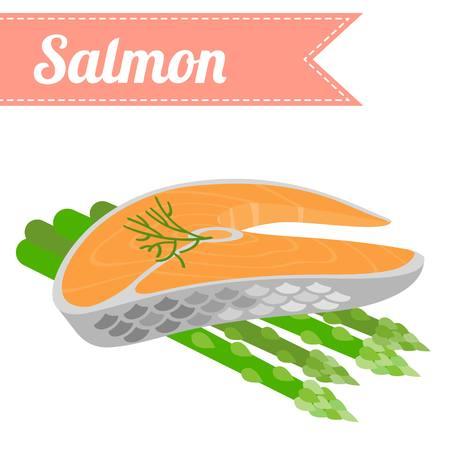 salmon dinner: Vector flat salmon with asparagus