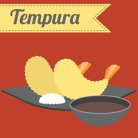 Vector Japanese Food Tempura Vektorové ilustrace