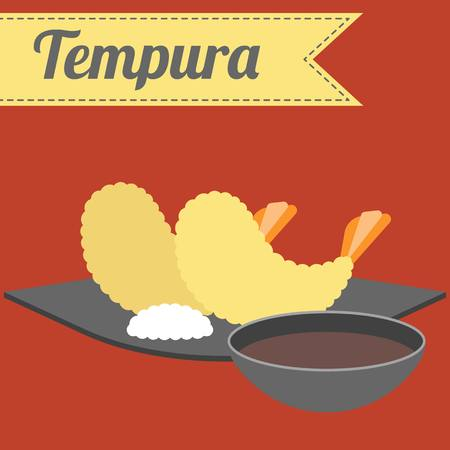 fried shrimp: Vector Japanese Food Tempura