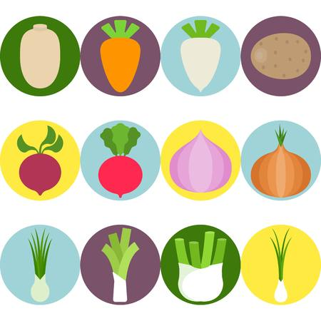 chive: Vector Vegetables flat icons set 3 Illustration