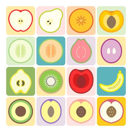 nectarine: Vector half fruits and vegetables icons set 1