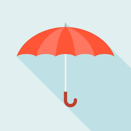 red umbrella: Vector red umbrella icon with long shadow, flat design Illustration