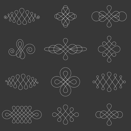 symmetry: Vector calligraphic lines dividers ,elements and page decoration, symmetry design