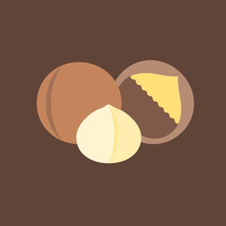 macadamia: Vector macadamia icon, flat design Illustration