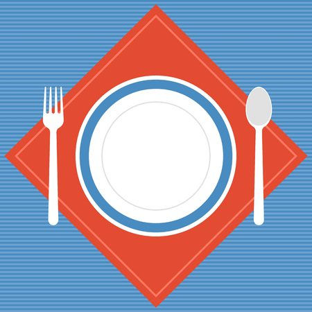 empty plate: Vector empty plate, fork and spoon with napkin, restaurant sign,flat design