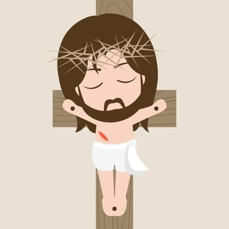 Vector messiah on the cross, flat design Illustration