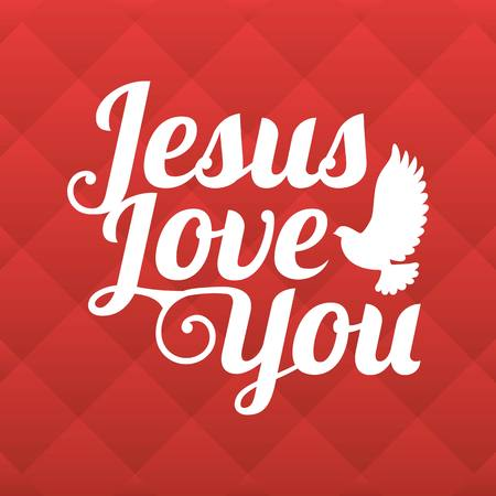 Vector typography Jesus love you with square background Illustration