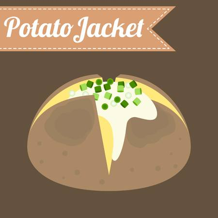 melted cheese: Vector potato jacket, flat design