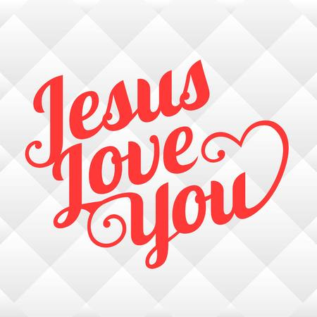 hopeful: Vector typography Jesus love you with square background Illustration