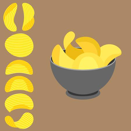potato chips: Vector potato chips in bowl and potato chips with texture, flat design Illustration
