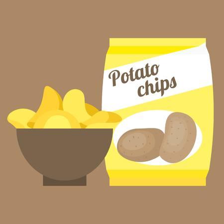 starch: Vector potato chips,flat design