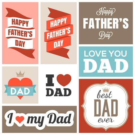 caligraphic: happy father day headline and banner, flat design Illustration