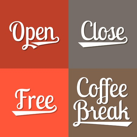 break: Text for business working hours, open, close, free, coffee break Illustration