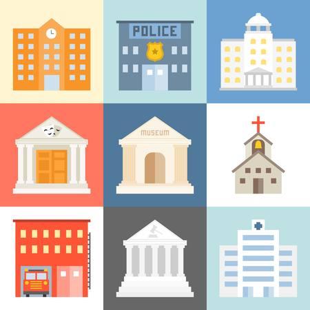 public building: Vector public building icons set, flat design Illustration