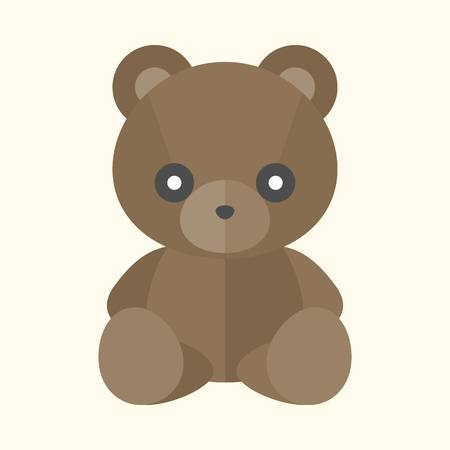 Vector teddybeer pictogram, platte ontwerp