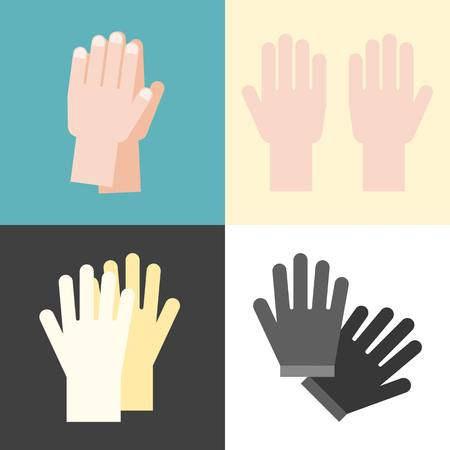 Vector hand and gloves, flat design