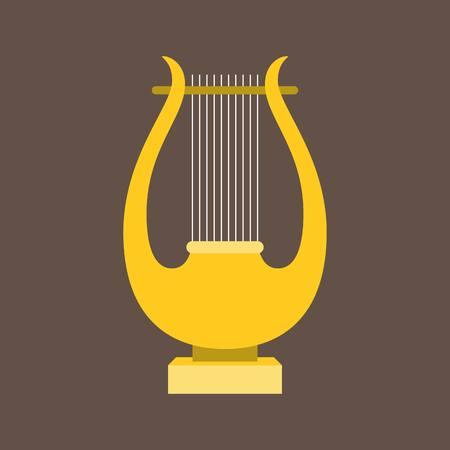 Vector harp or lyre ,flat design Illustration