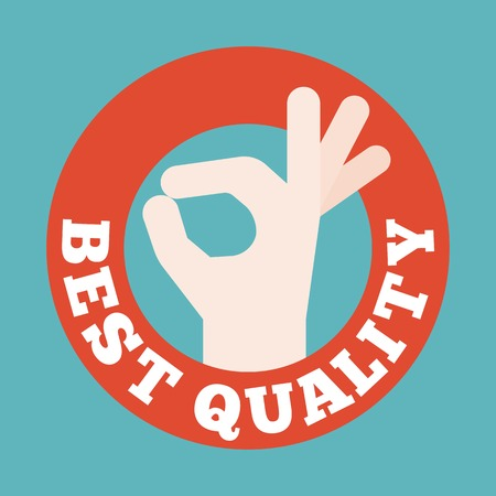 Okay hand sign in circle badge, best quality typography in circle frame badge for advertising, Guarantee symbol, flat design on green background