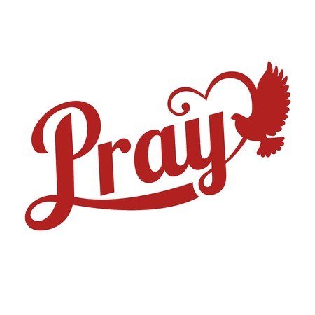 pentecost: vector typography pray letter with pigeon sign,flat design