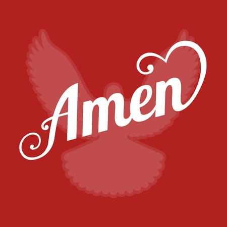 pentecost: vector typography letter amen and pigeon sign of holy spirit ,flat design Illustration