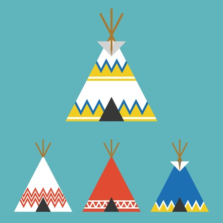 set of tee pee tent of native american, flat design vector Illustration