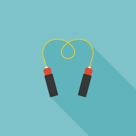 skip: Jump rope icon for skipping and exercise with long shadow vector, flat design Illustration