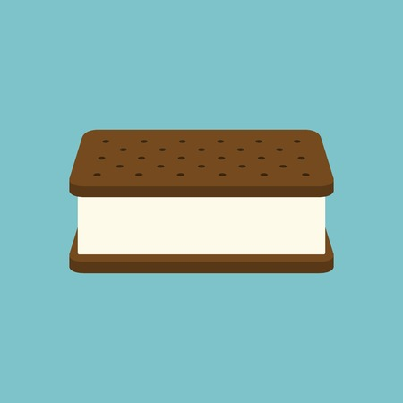 3d Ice cream sandwich icon vector, flat design