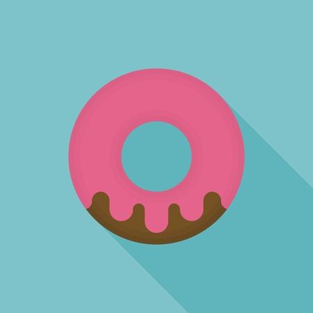 strawberry donut icon vector, flat design