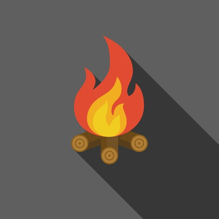 fire wood: bonfire on fire wood icon, flat design with long shadow