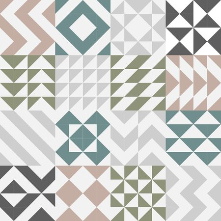 rigorous: Set of seamless square, triangle, zigzag and geometric tile pattern design vector