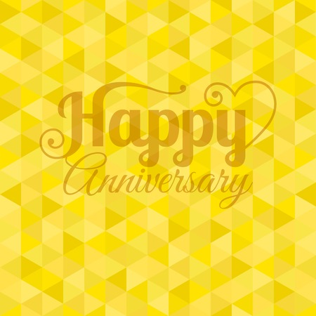 deluxe: Vector happy anniversary letter with yellow geometric background Illustration