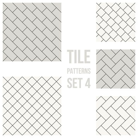 patio: Set of thin line seamless pattern brick tile, use for background, path, toilet wall, patio, wooden floor, ceramic tile, parquet floor, stack bond and texture Illustration