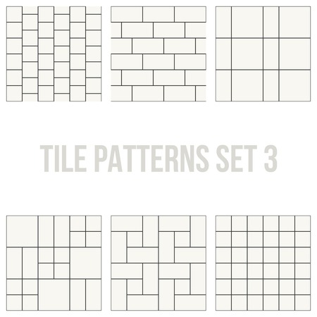patio set: Set of thin line seamless pattern brick tile, use for background, path, toilet wall, patio, wooden floor, ceramic tile, parquet floor, stack bond and texture Illustration