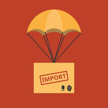 moving crate: Import and delivery service concept illustration vector, parcel with parachute for shipping, flat design vector Illustration