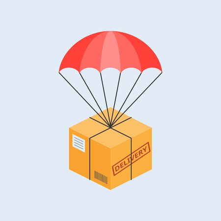 delivery service concept illustration vector, parcel with parachute for shipping, flat design vector Illustration