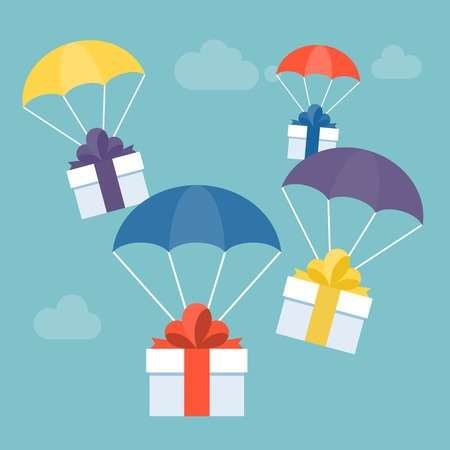 envoyer le service de livraison concept illustration vecteur cadeau et boîte cadeau avec parachute coloré pour carte de voeux, adapté pour Noël ou nouvel an, vecteur design plat