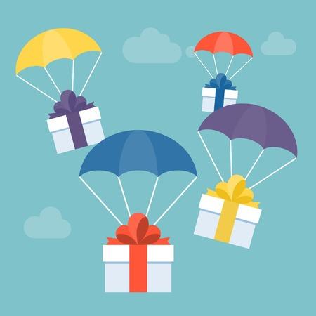 verzenden geschenk en levering service concept illustratie vector, geschenkdoos met kleurrijke parachute voor wenskaart, geschikt voor Kerstmis of Nieuwjaar, platte ontwerp vector