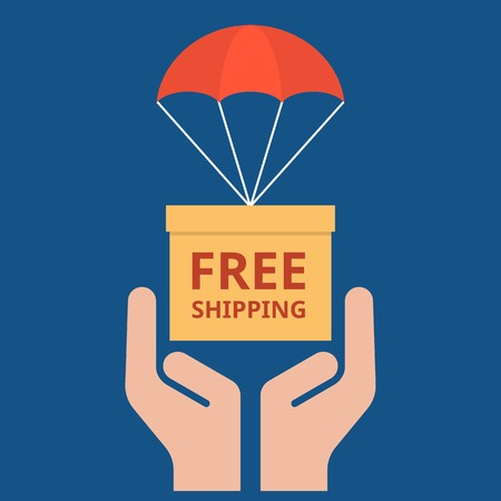 hand free: delivery service concept illustration vector, parcel with parachute for shipping in hand, Free shipping headline flat design vector